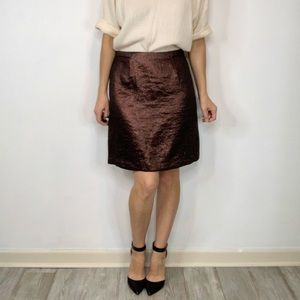 LEIFSDOTTIR bronze skirt exposed zip metallic 1414